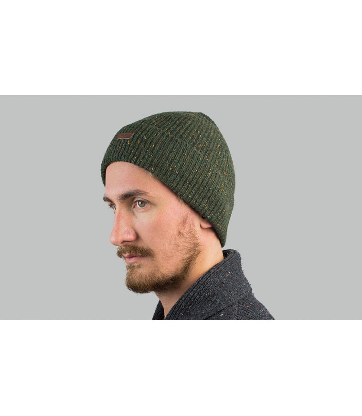 Mütze mit Rand grün meliert