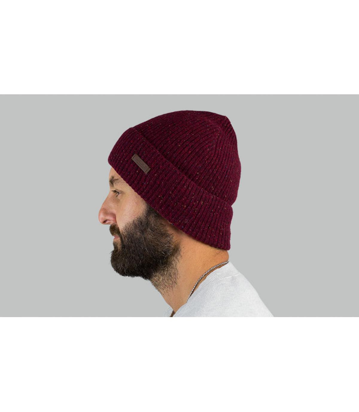Mütze Revers bordeaux meliert