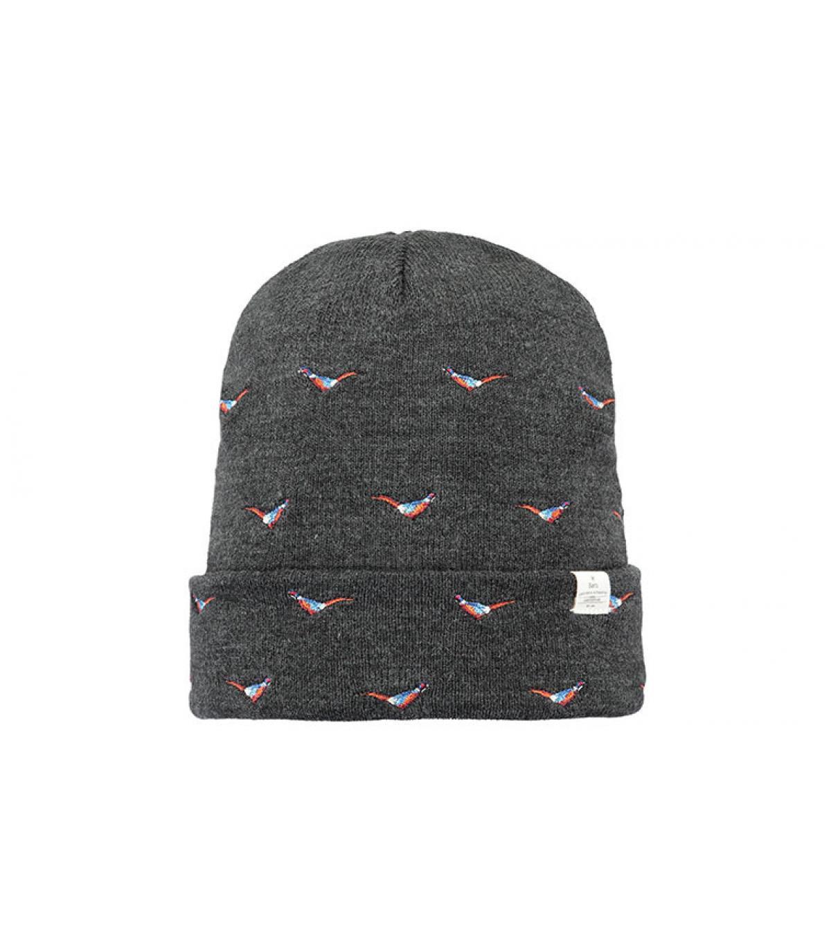Mütze Vögel grau Revers