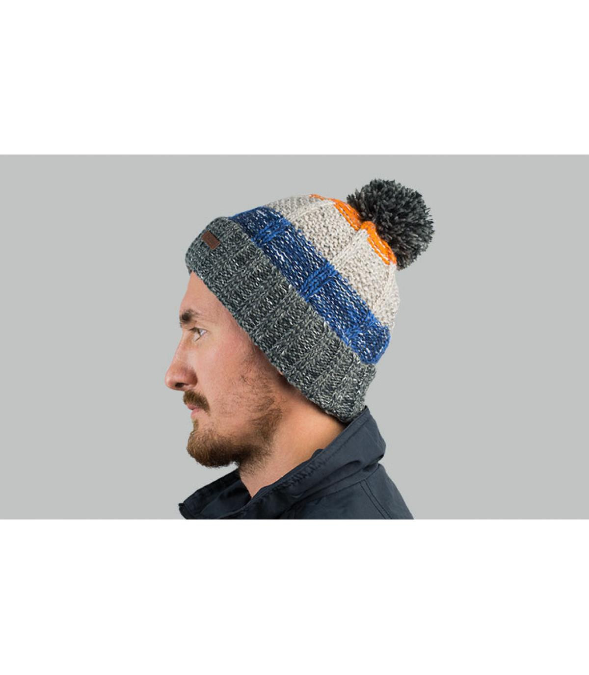 Bommelmütze gestreift grau blau