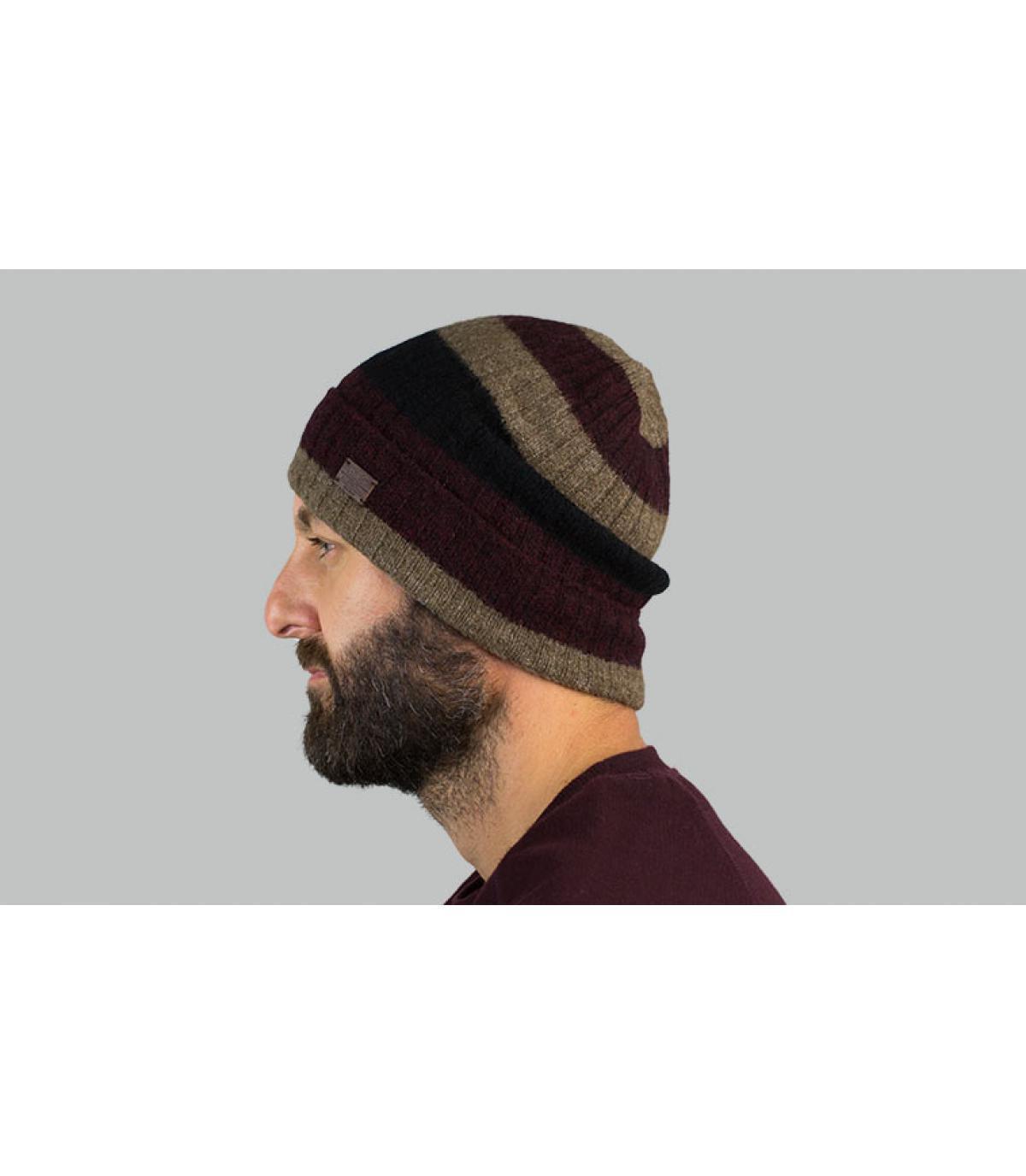 Mütze gestreift beige Revers