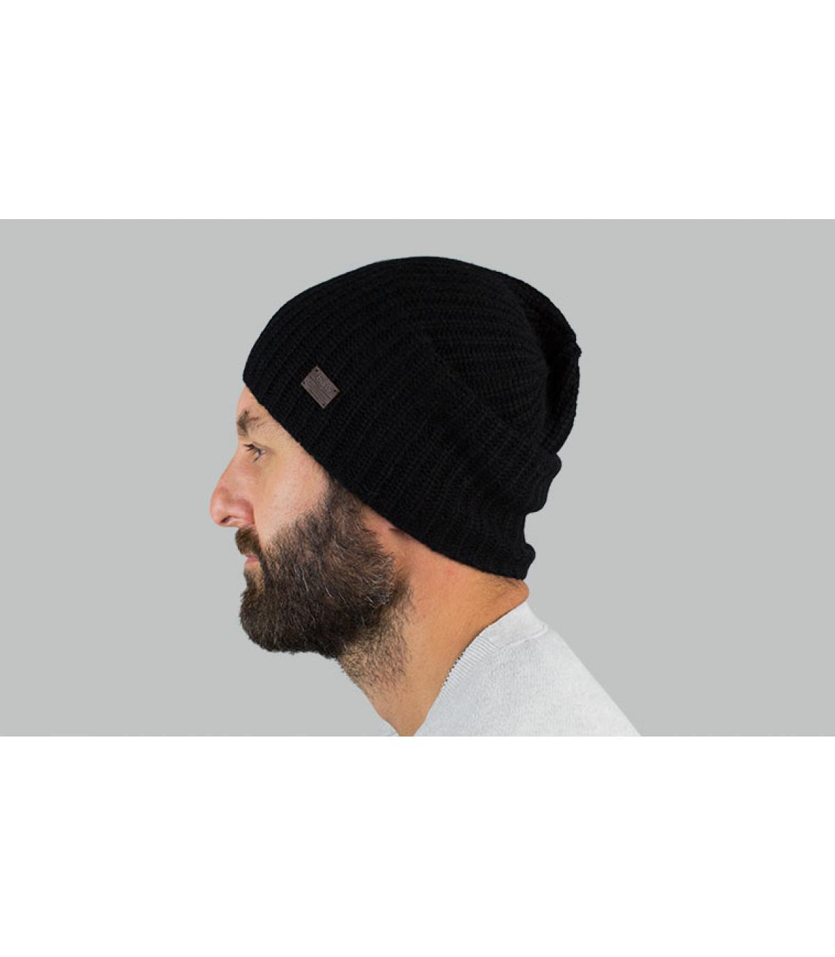 Oversize Mütze Kaschmir schwarz