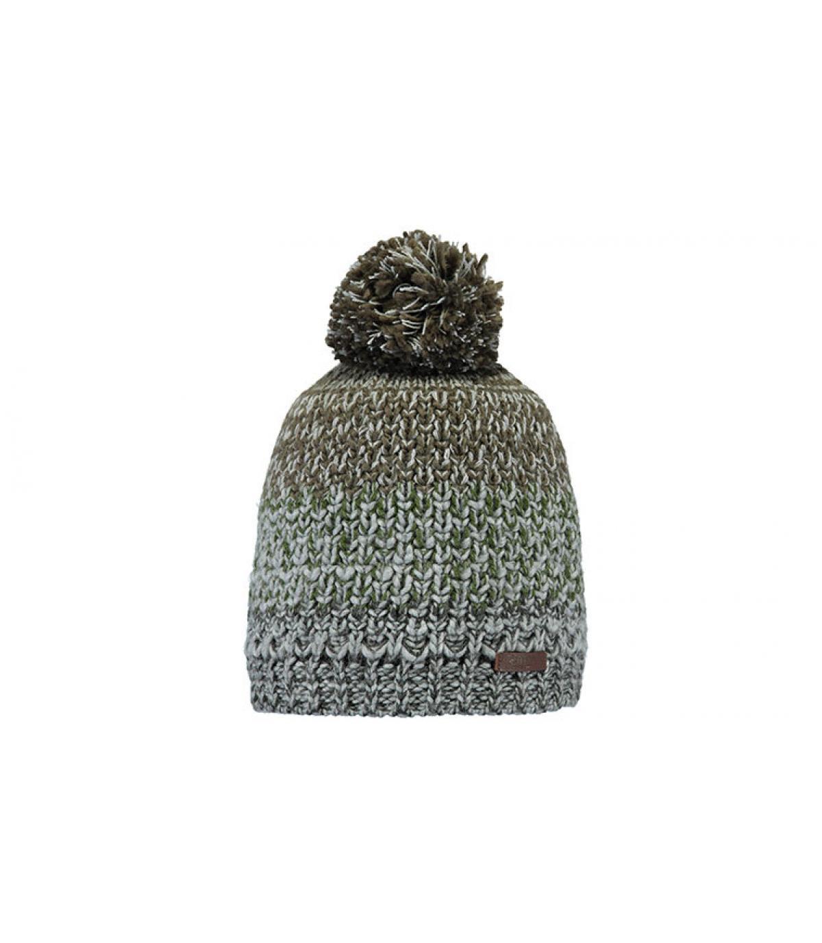 Bommel Mütze gestreift grau