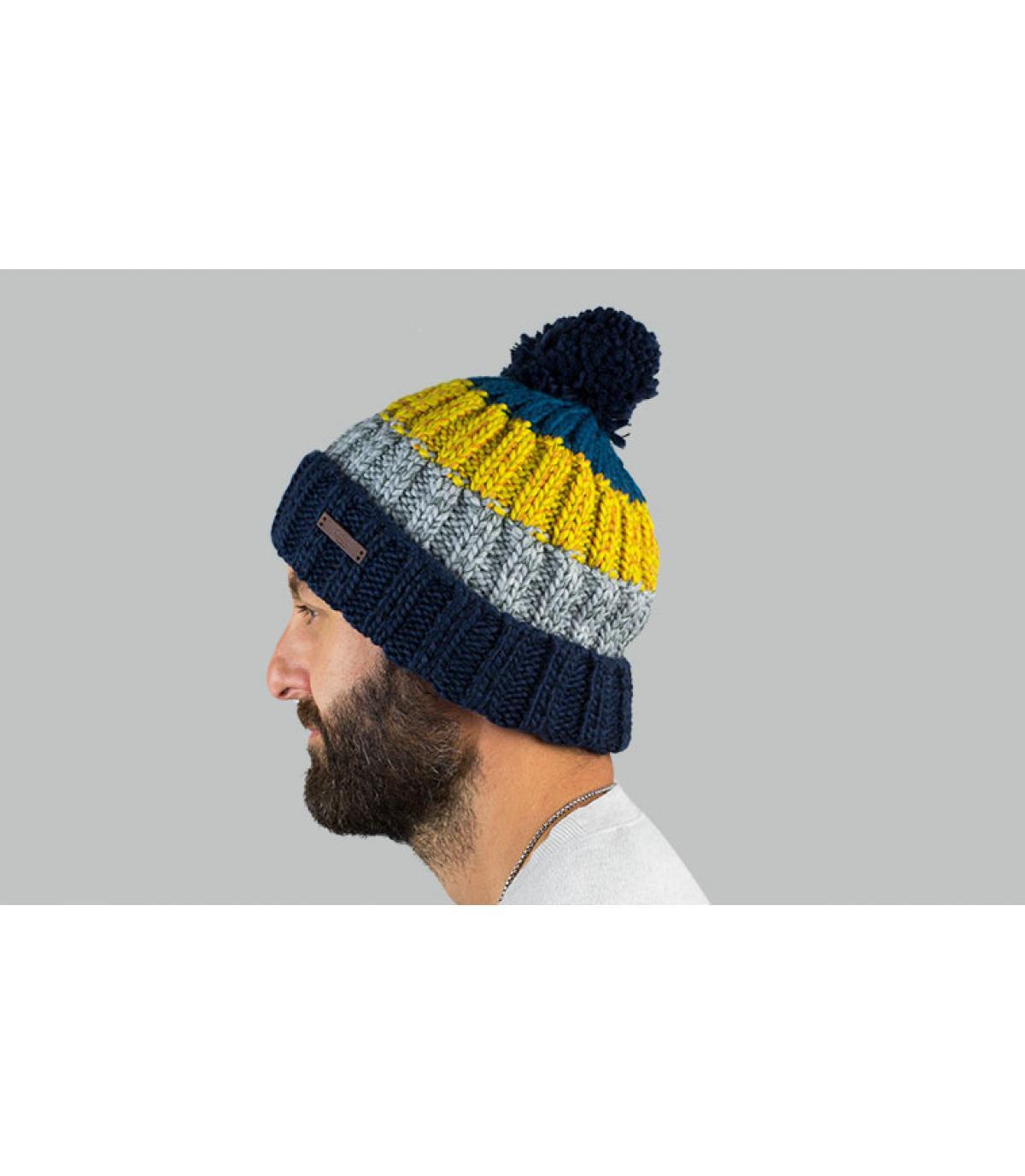 Bommel Mütze blau gelb