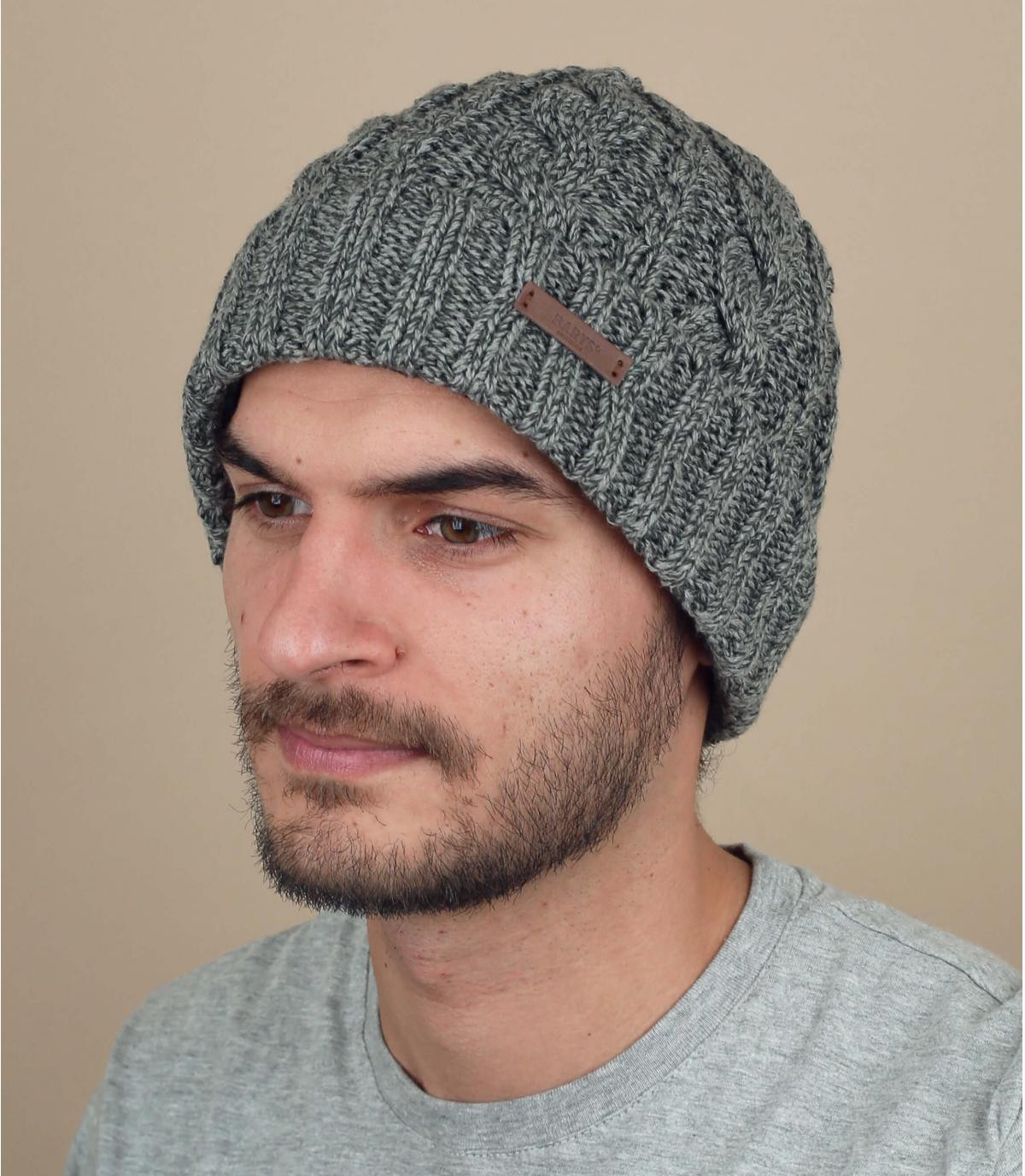 Mütze Rand Zopfmuster grau