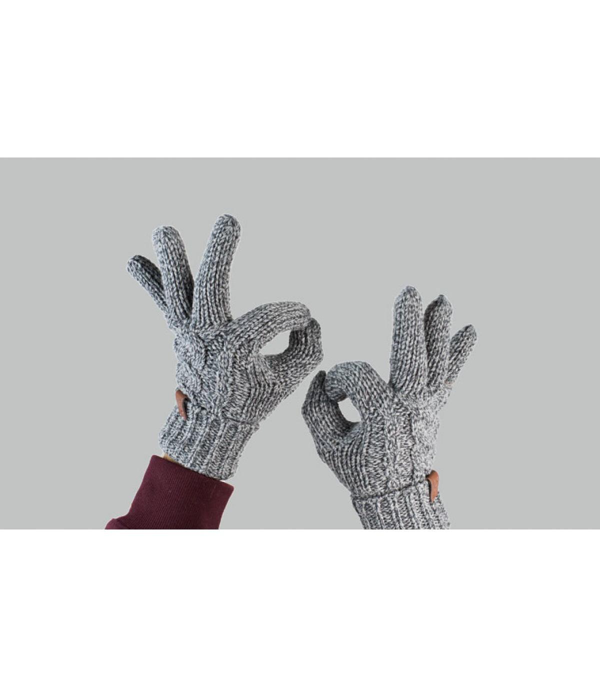 Handschuhe grau Zopfmuster