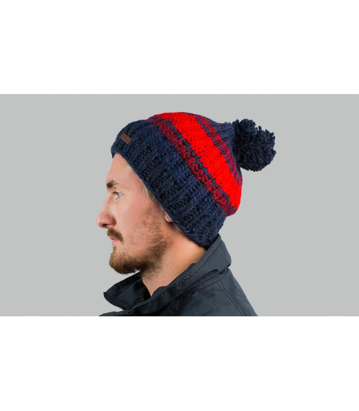 Bommel Mütze blau rosa