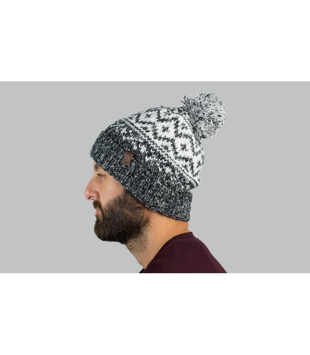 Mütze Motiv grau weiß