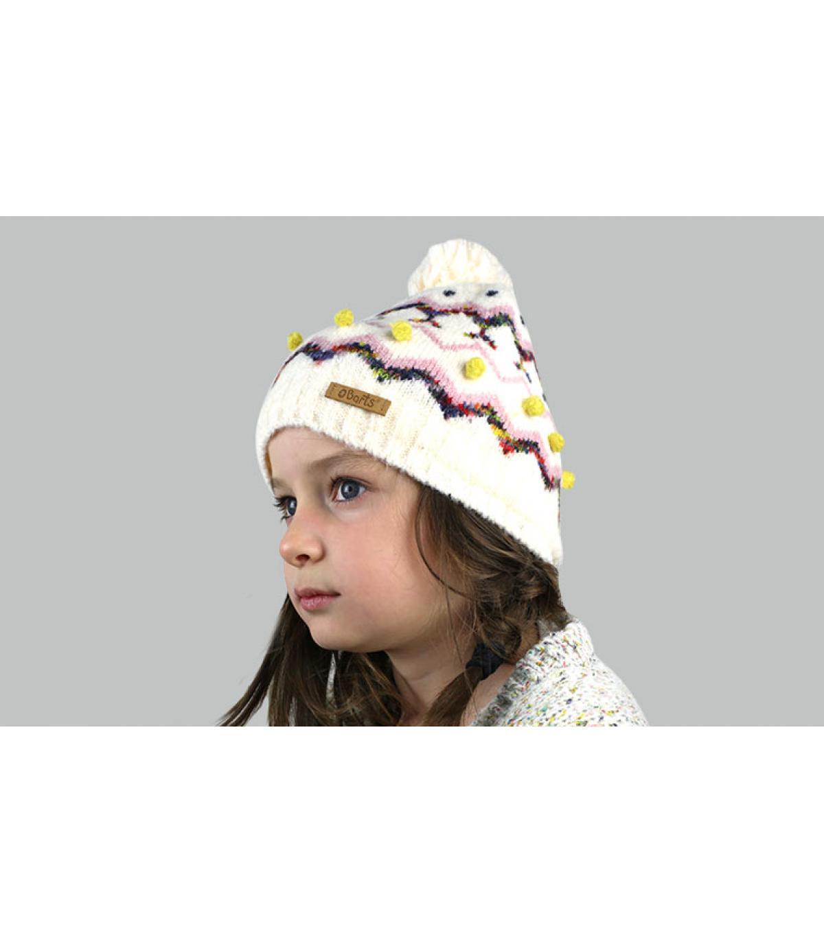 Kinder Bommel Mütze beige Motiv