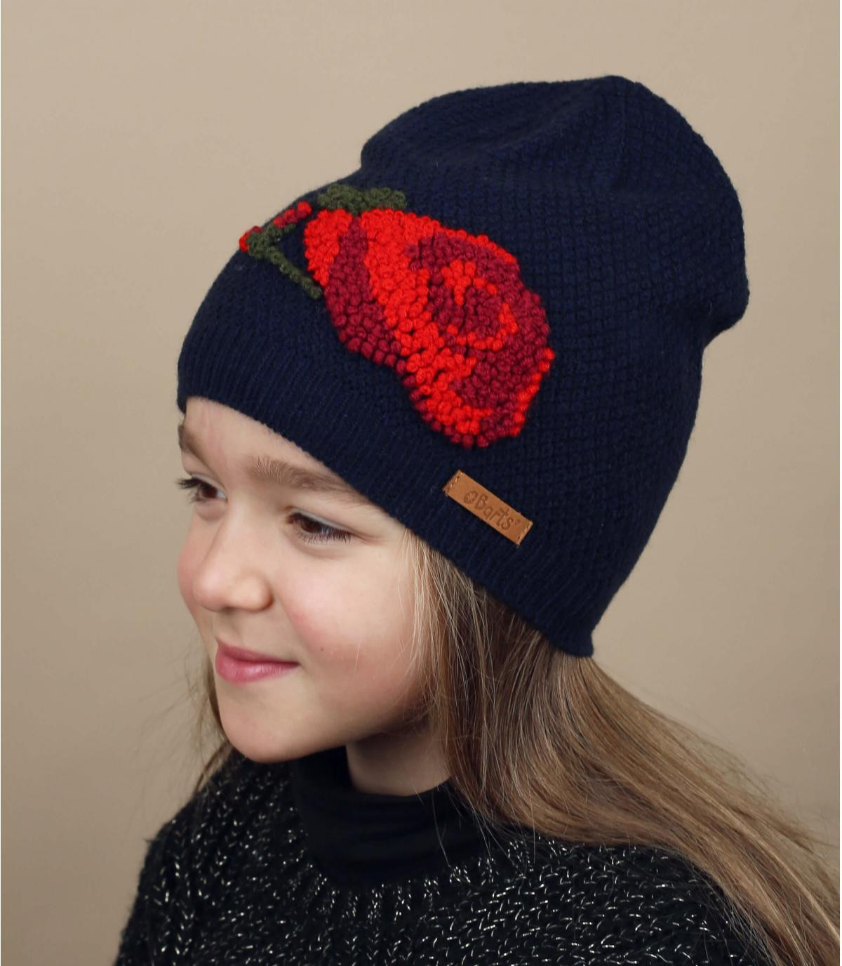 Kinder Mütze Blume blau