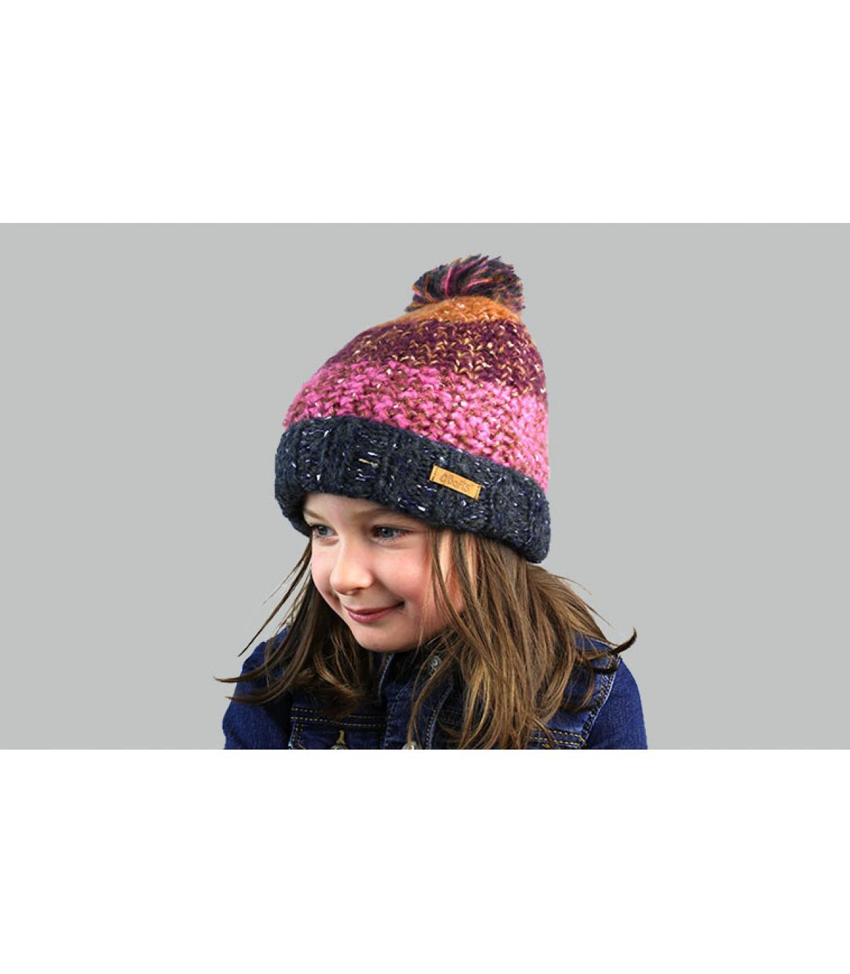 Kinder Mütze Streifen Violett