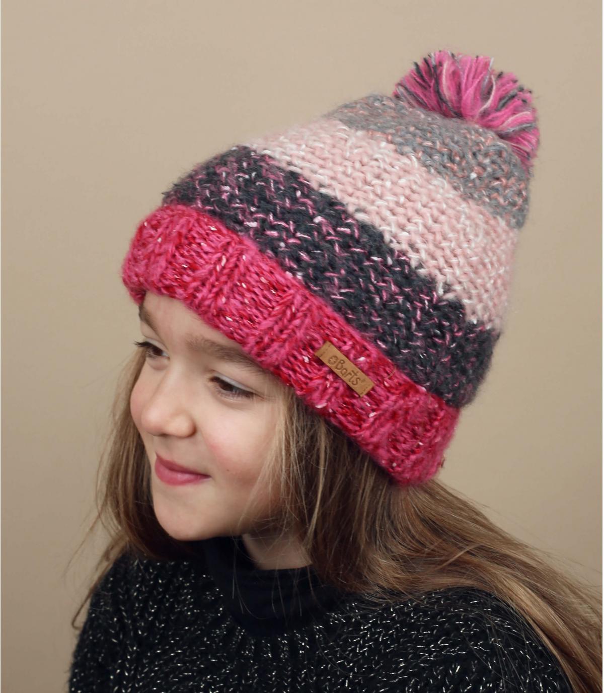 Kinder Mütze Streifen rosa