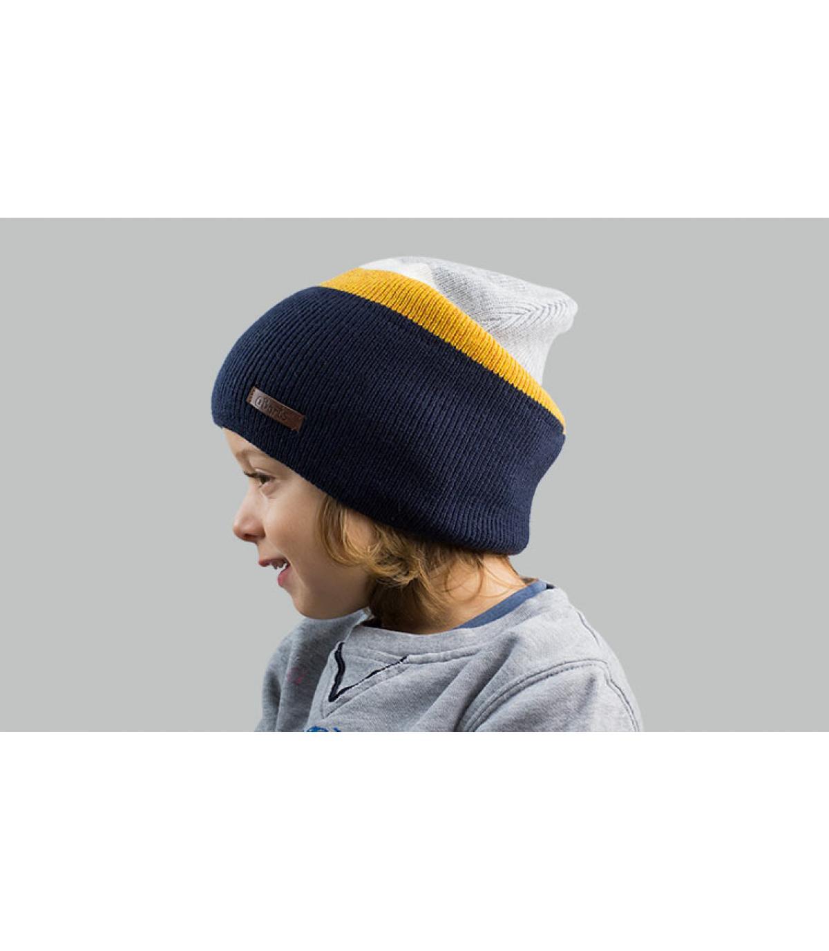 Kinder Mütze blau gelb