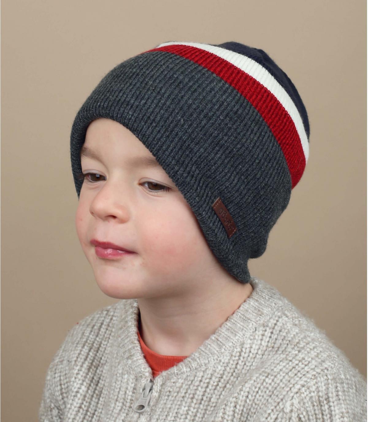 Kinder Mütze  grau rot blau