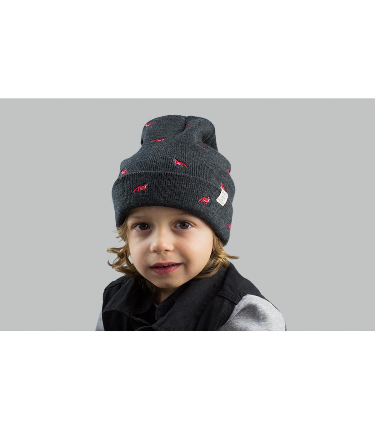 Kinder Mütze  grau Fuchs