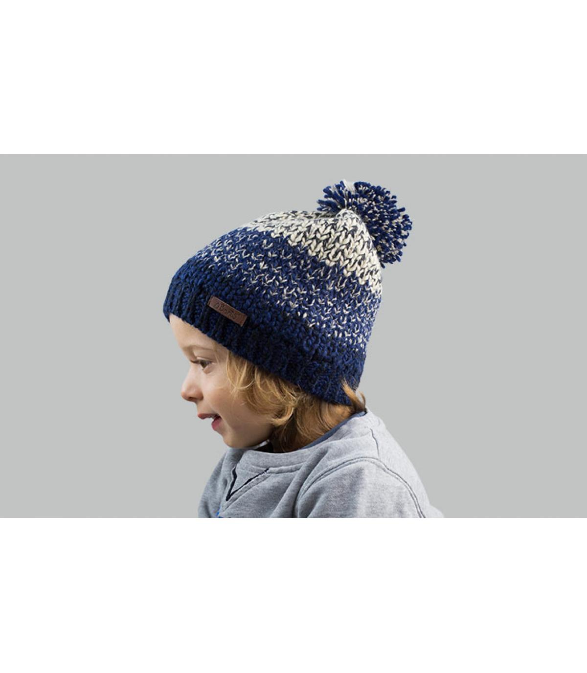 Bommel Mütze Kinder blau
