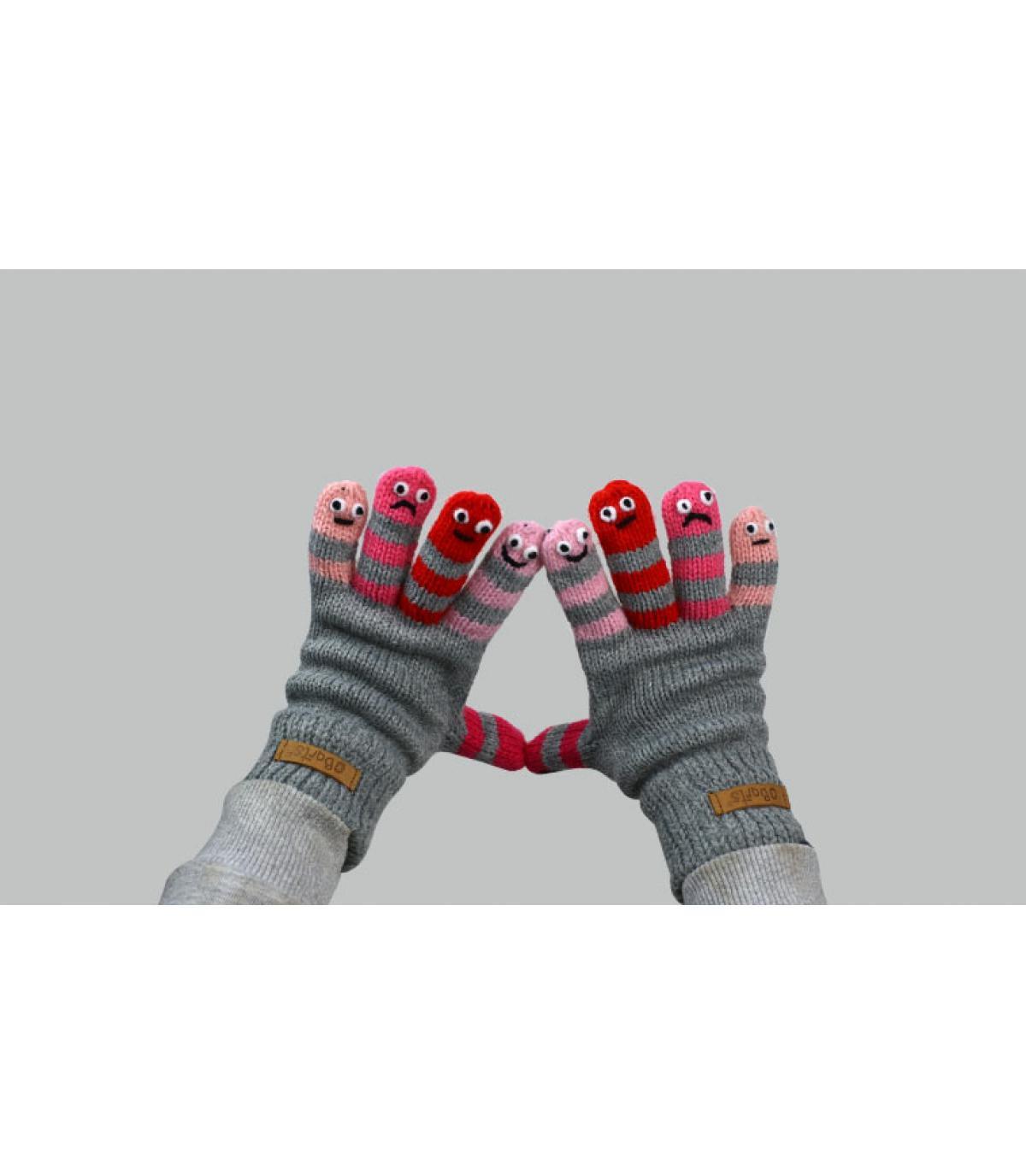 Handschuhe grau rosa Kinder
