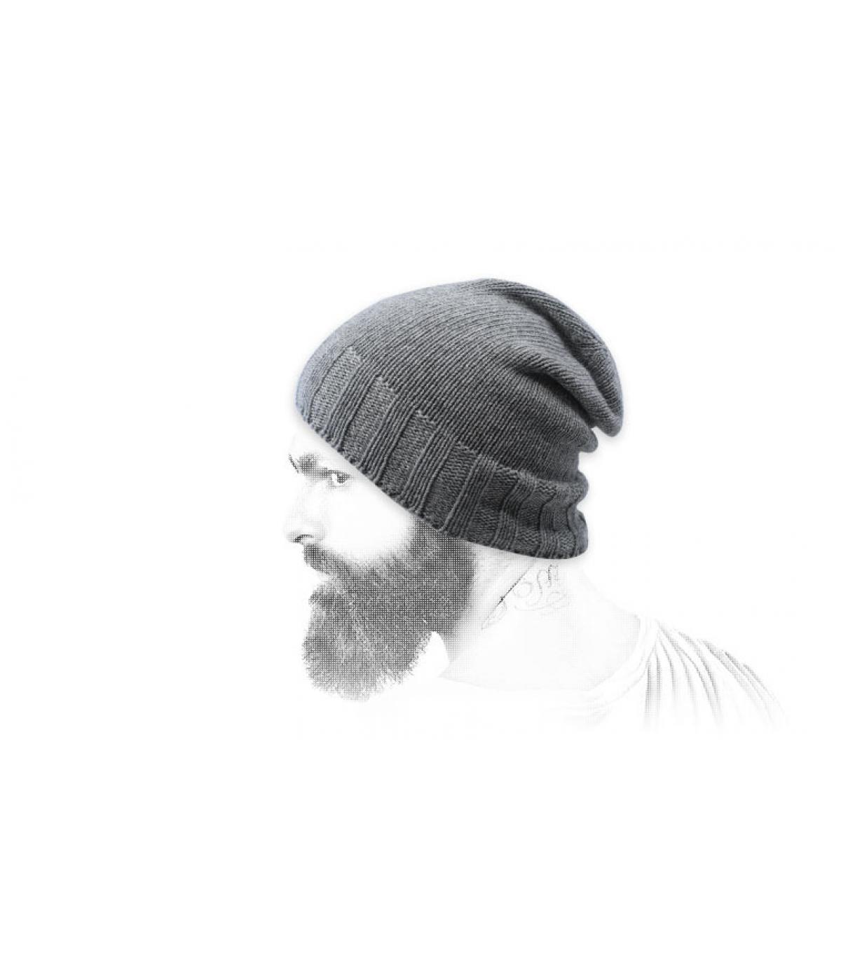 Mütze grau recycelte Wolle