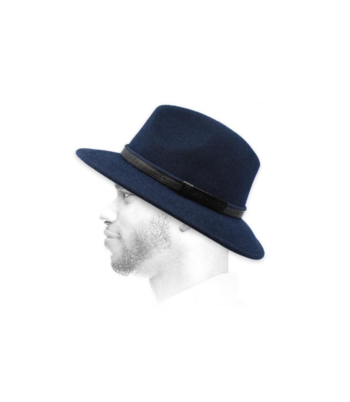 Fedora marineblau Wolle