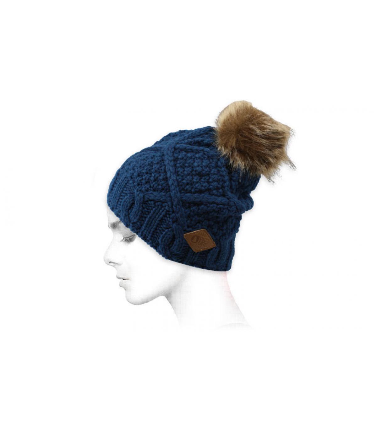 Mütze blau Fellbommel
