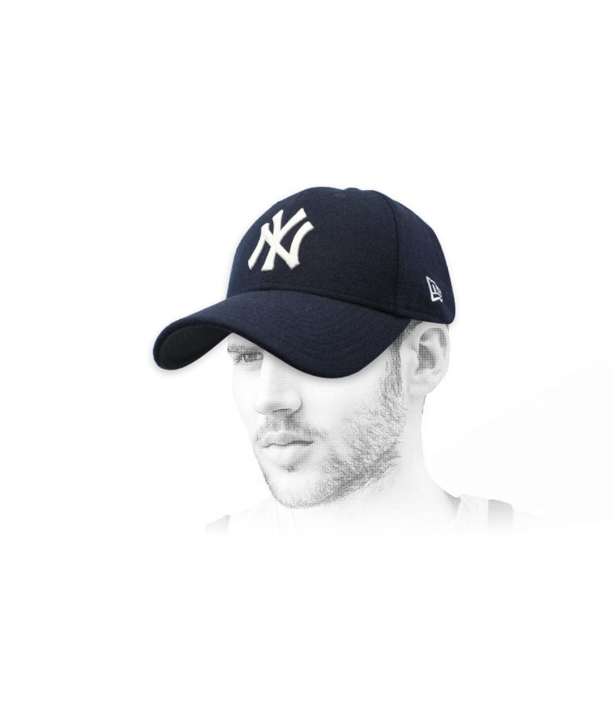 Cap NY blau Wolle