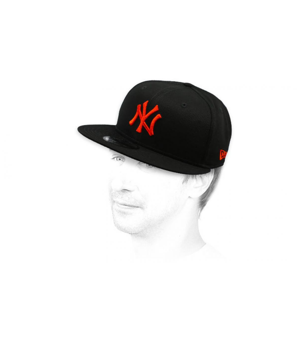 snapback NY schwarz rot