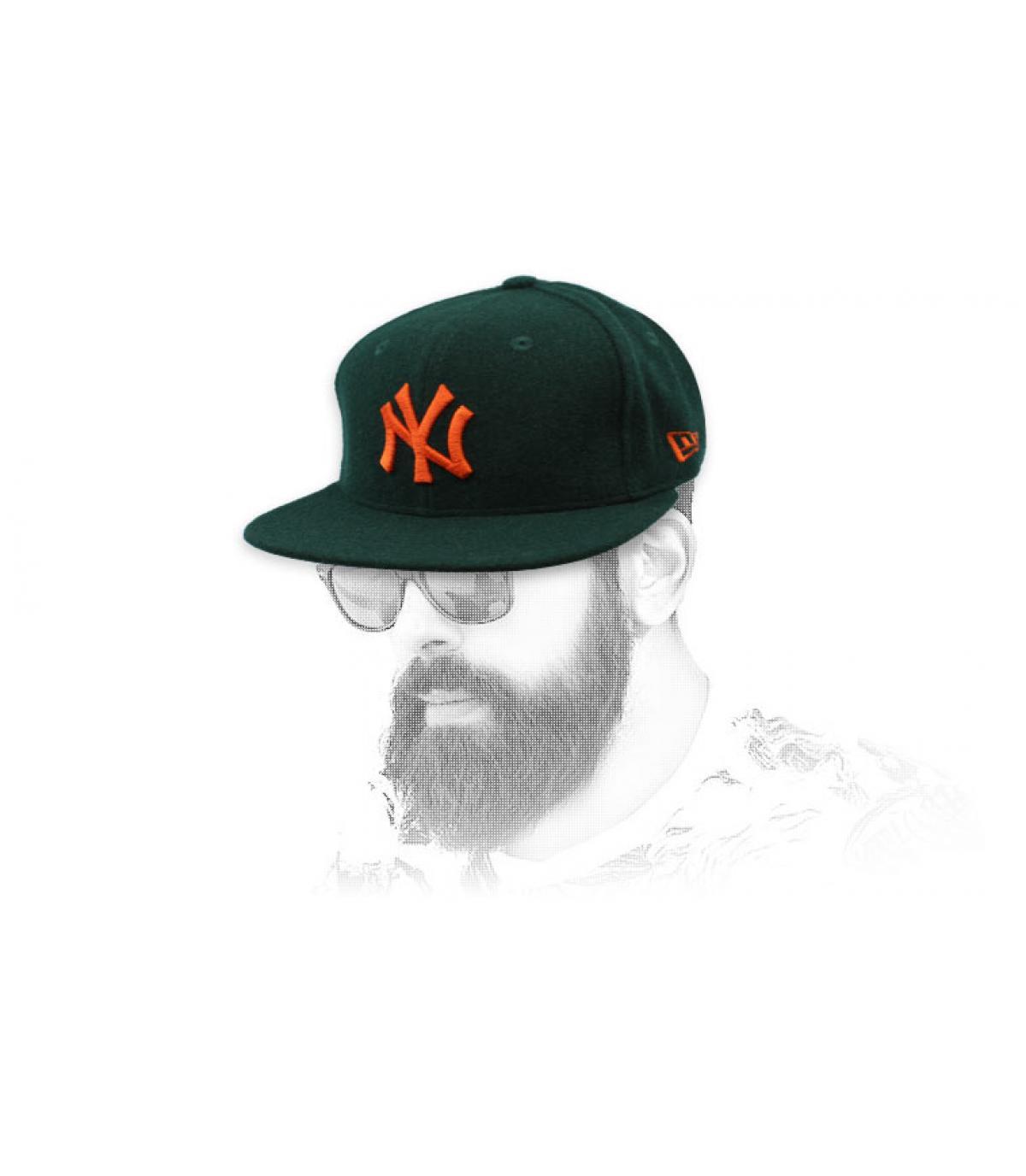 snapback NY grün orange Wolle