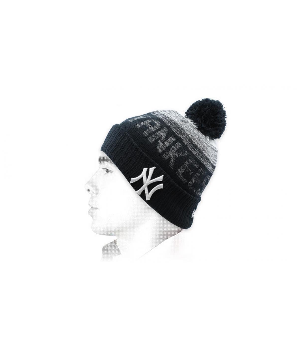 Bommel Mütze Yankees schwarz