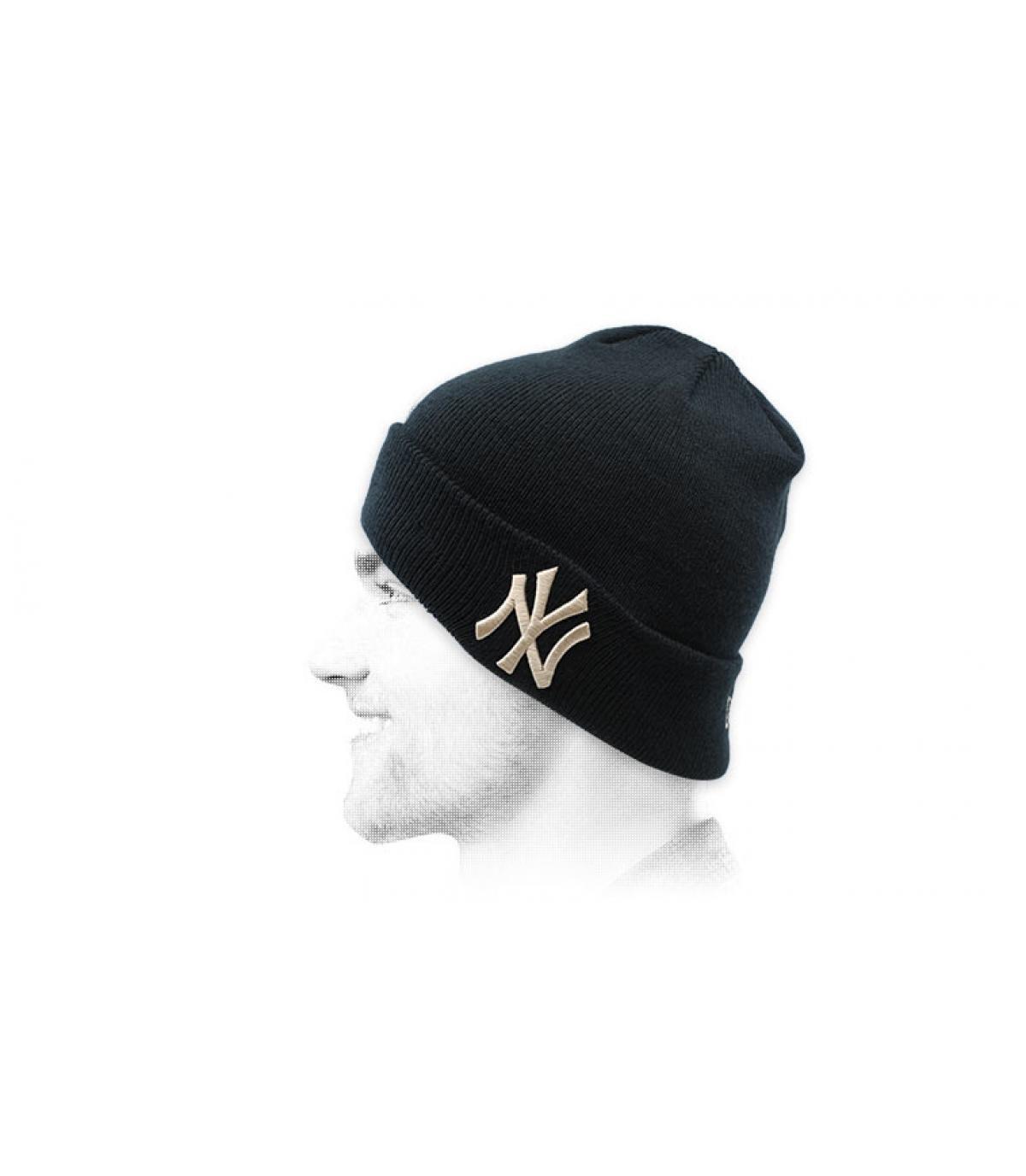 Mütze Revers NY blau