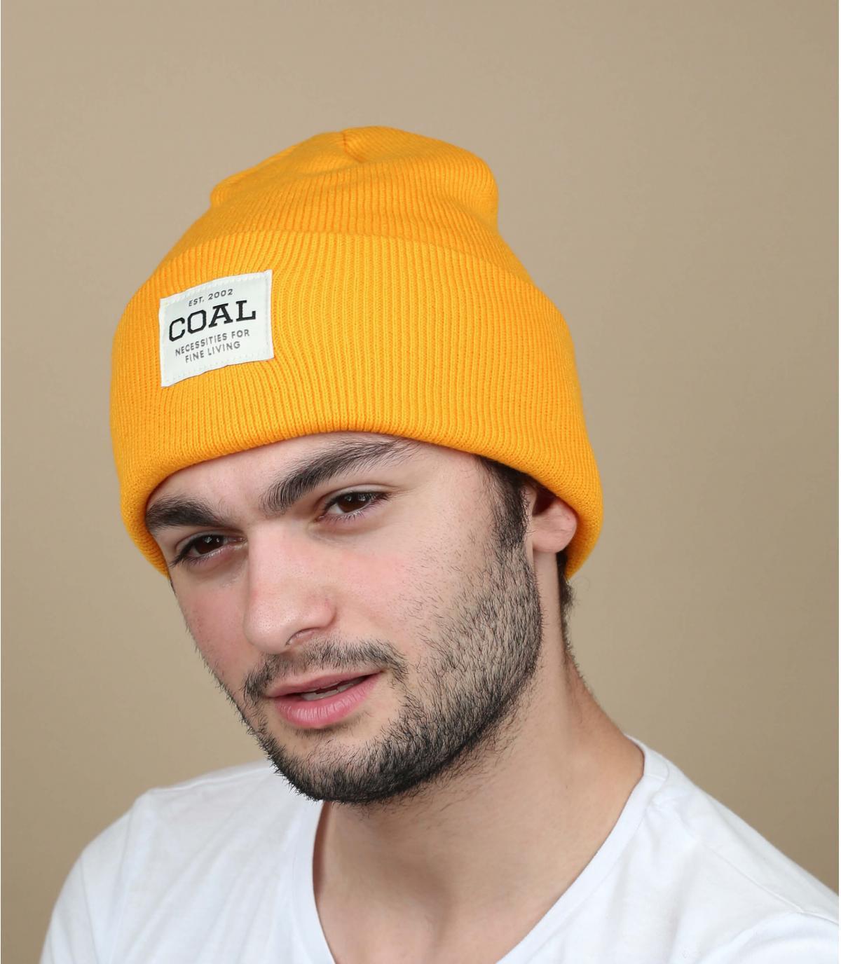 Mütze mit Rand gelb Coal