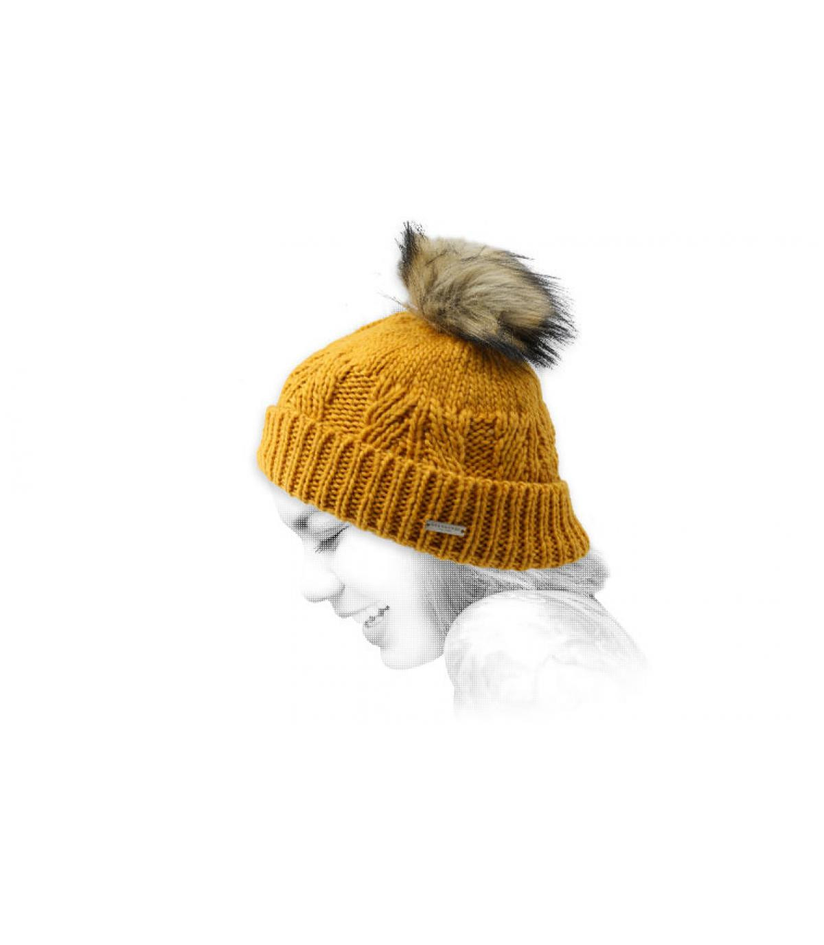 Mütze gelb Fellbommel