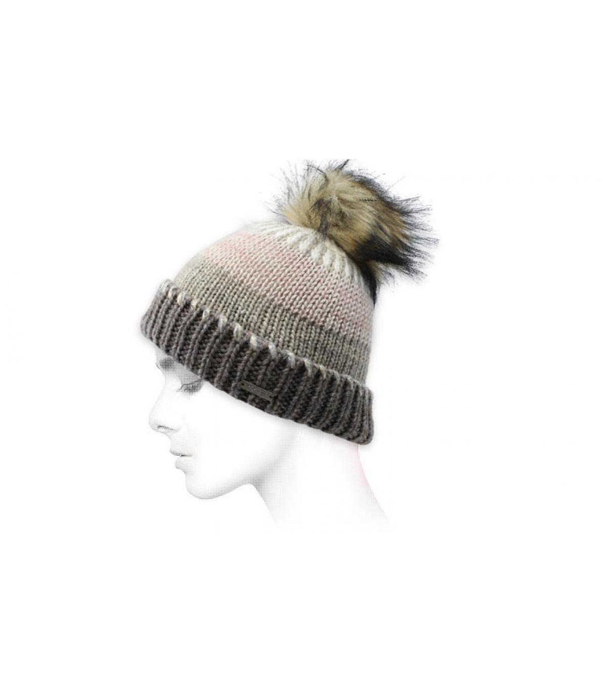 Mütze Streifen grau beige