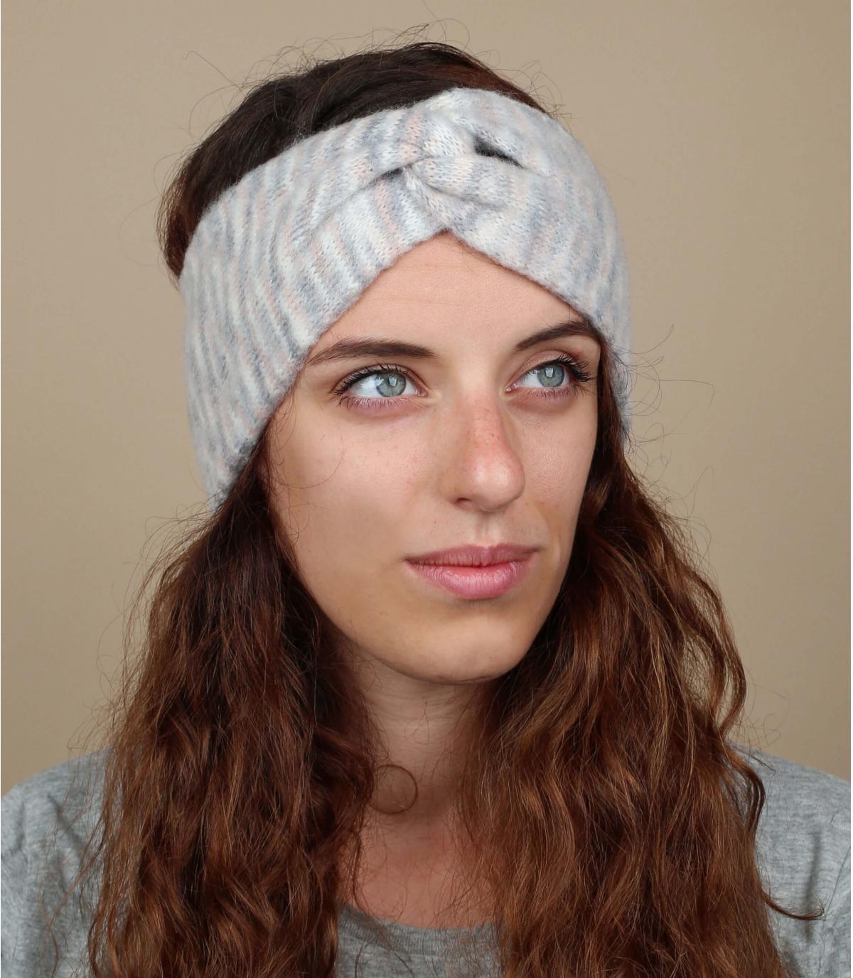 Stirnband beige grau meliert