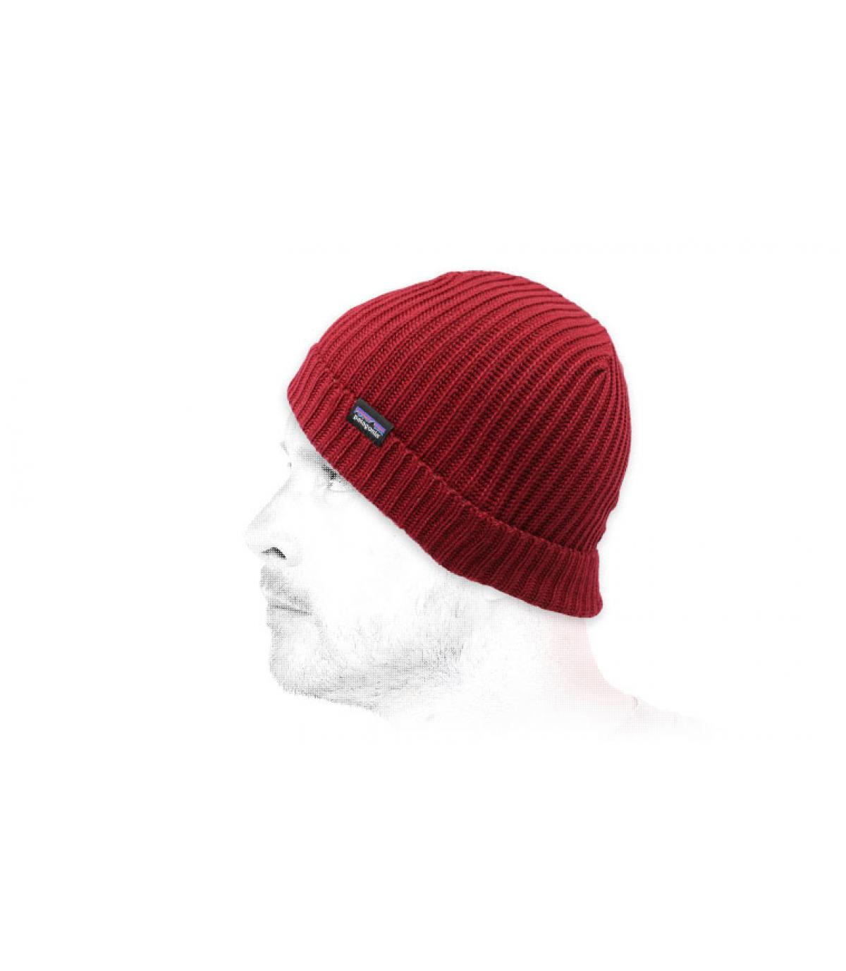 Mütze mit Rand bordeaux