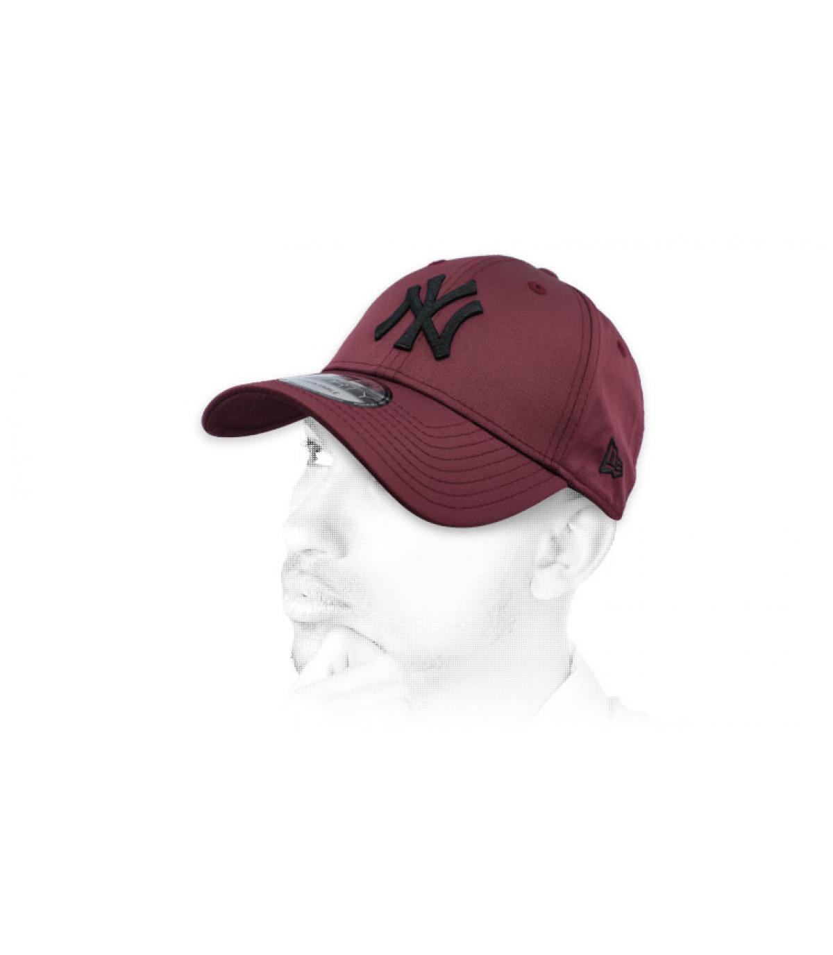 Cap NY bordeaux schwarz