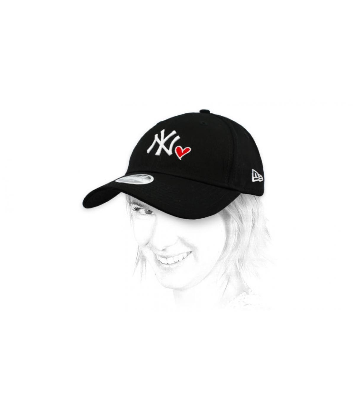 Damen Cap NY schwarzes Herz