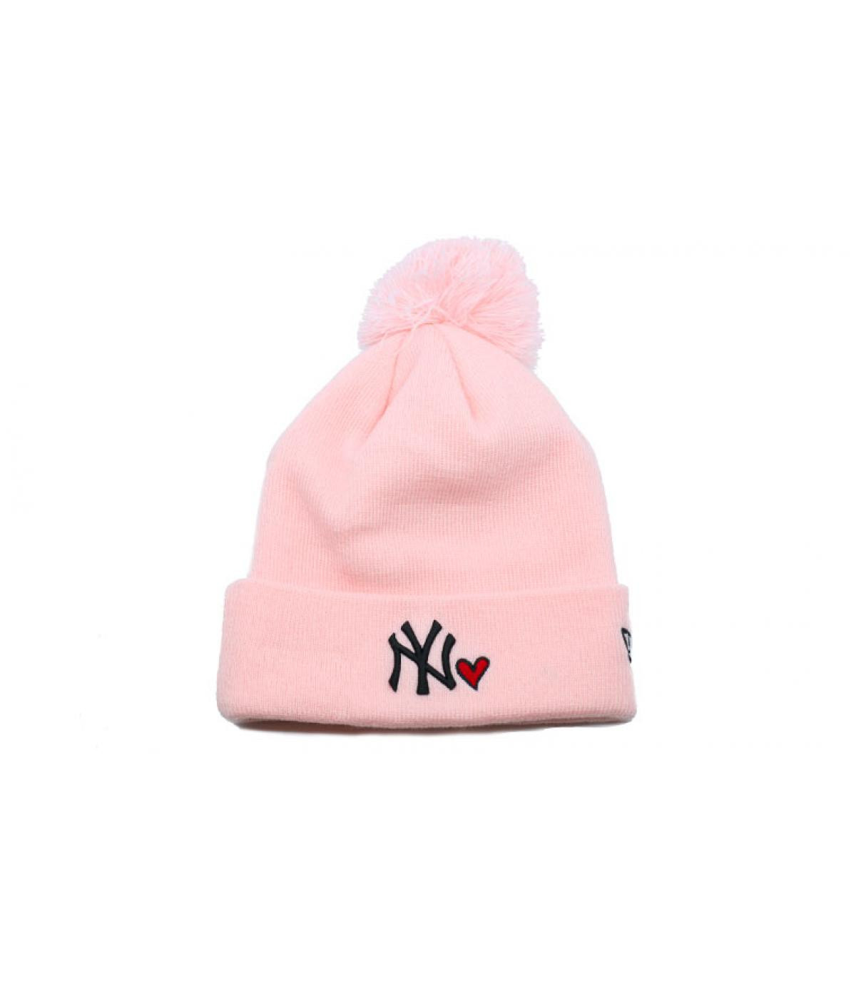 Mütze NY rosa Herz