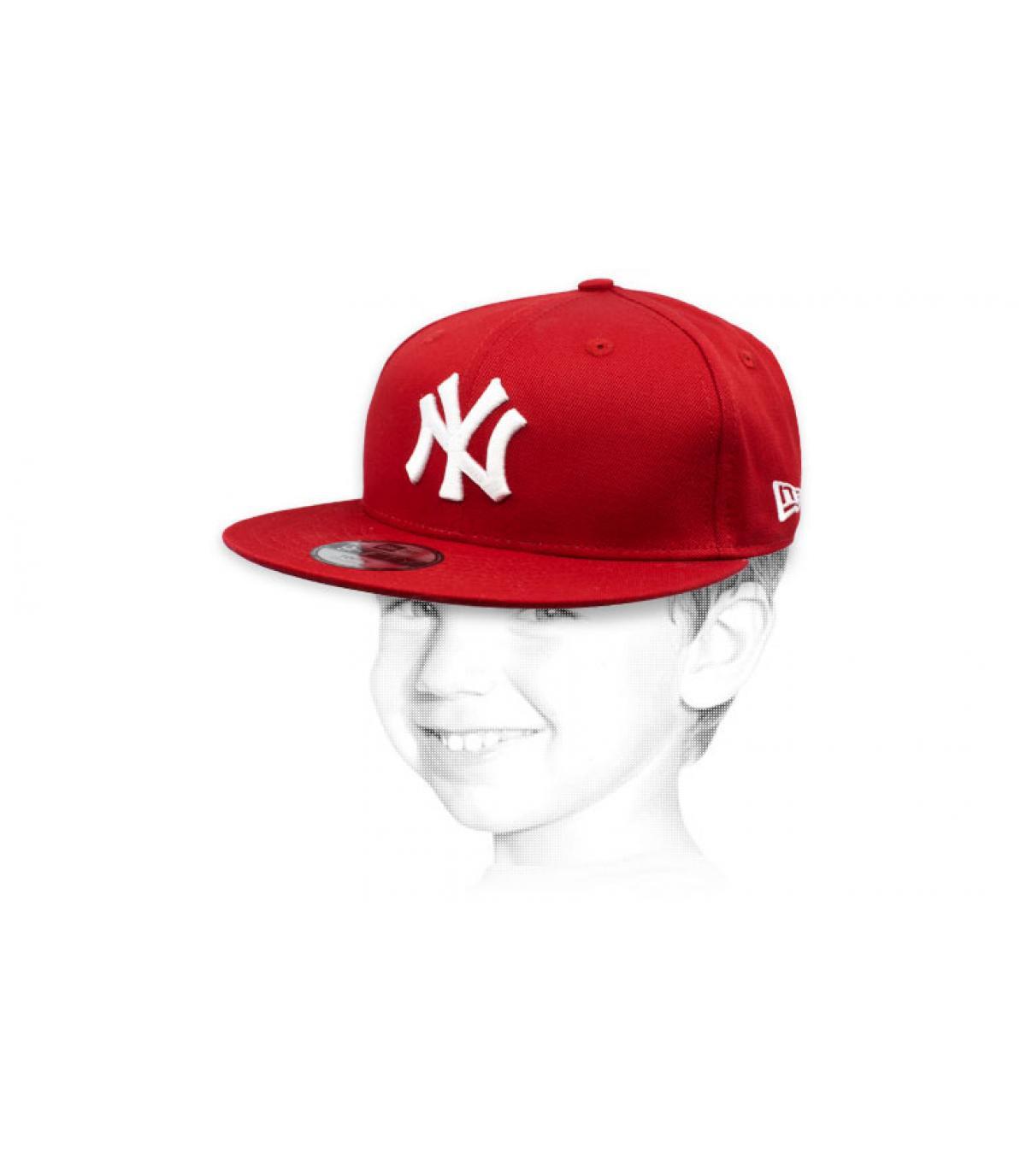 Kinder Cap NY rot weiß