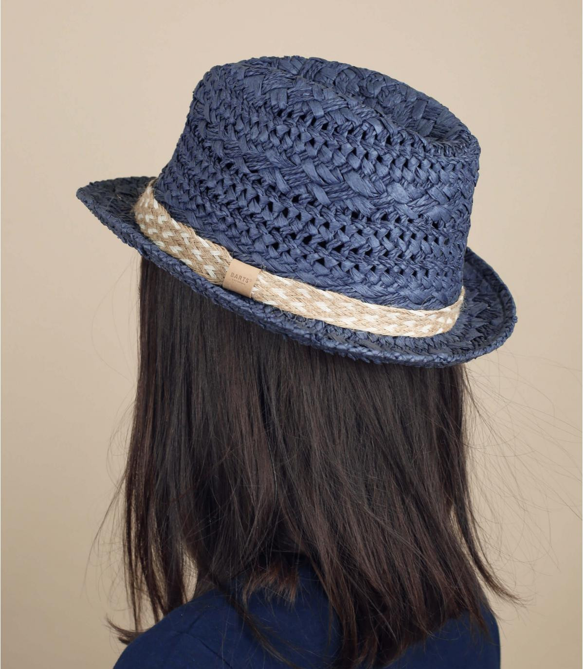 Strohhut Trilby blau