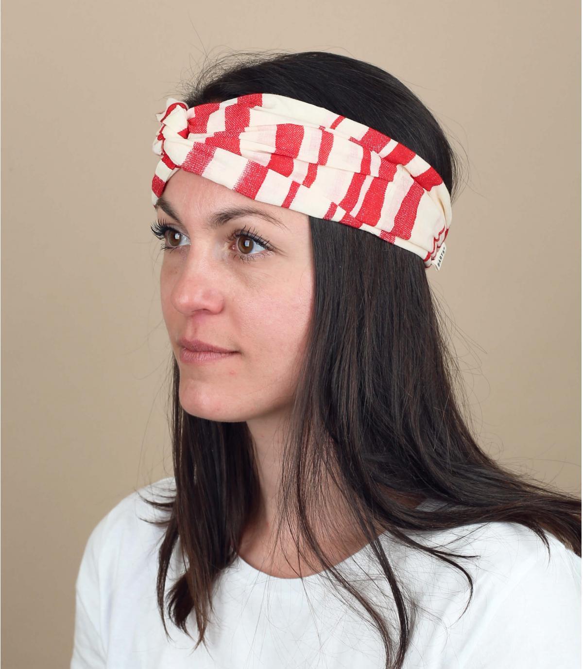 Stirnband Streifen rot weiß