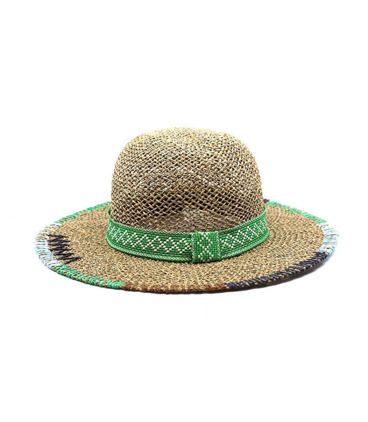 Capeline Strohhut beige grün