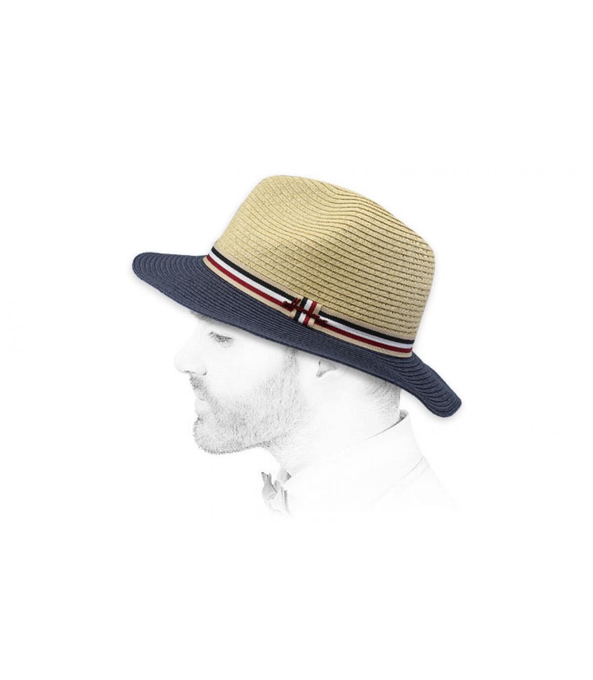 Hut beige blau Stroh