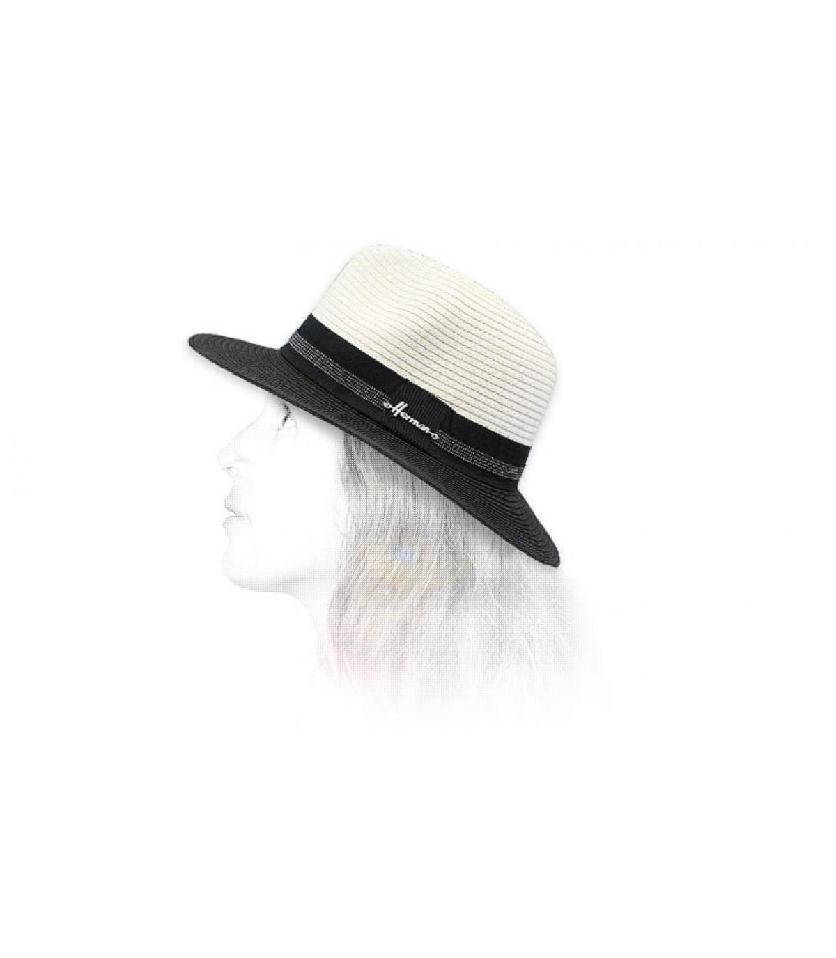 Strohhut schwarz weiß