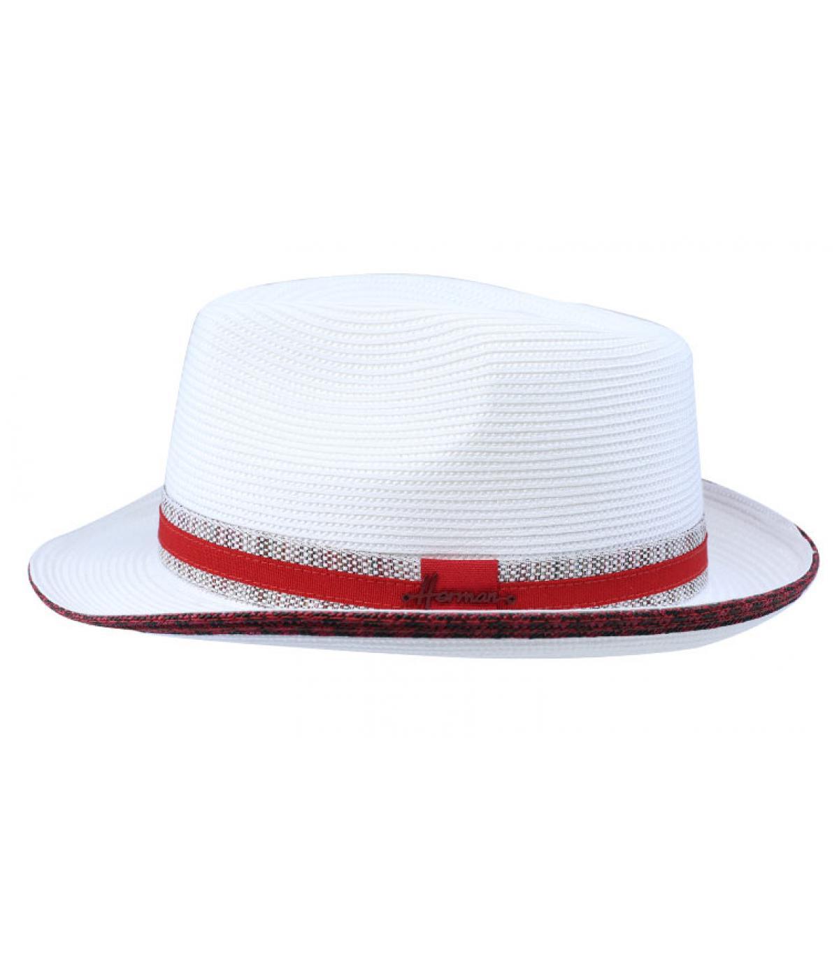 weißer Hut rotes Hutband