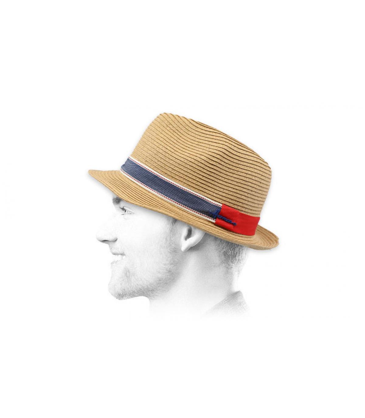 Trilby Strohhut Hutband zweifarbig