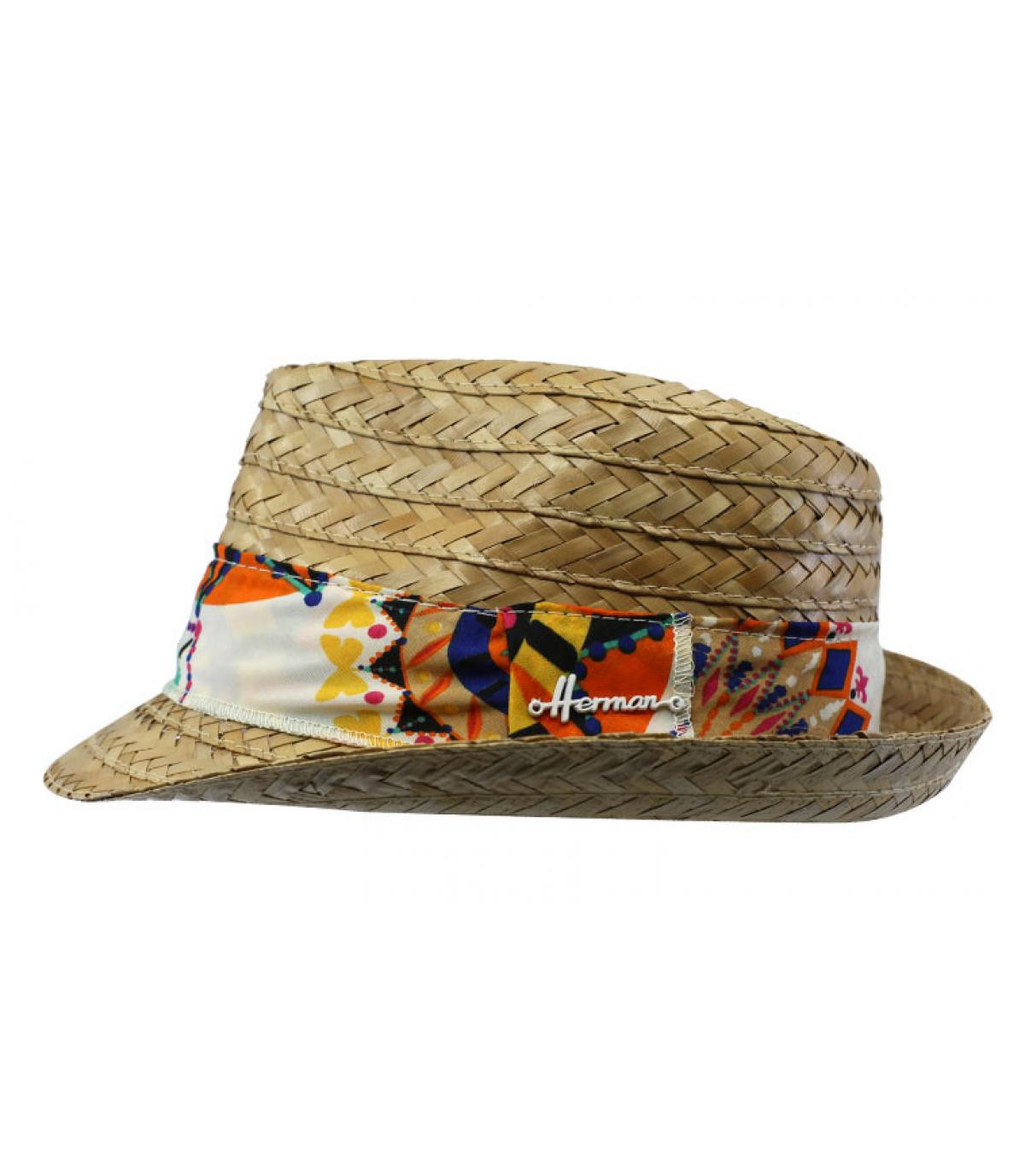 Trilby Stroh gelbes Hutband