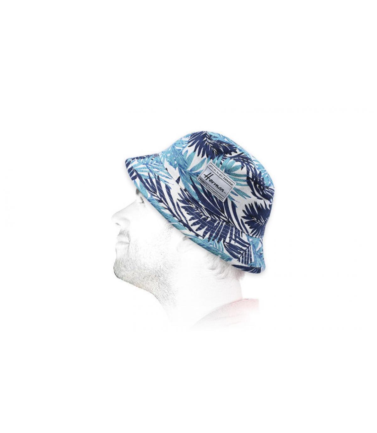 Fischerhut bedruckt Blätter blau