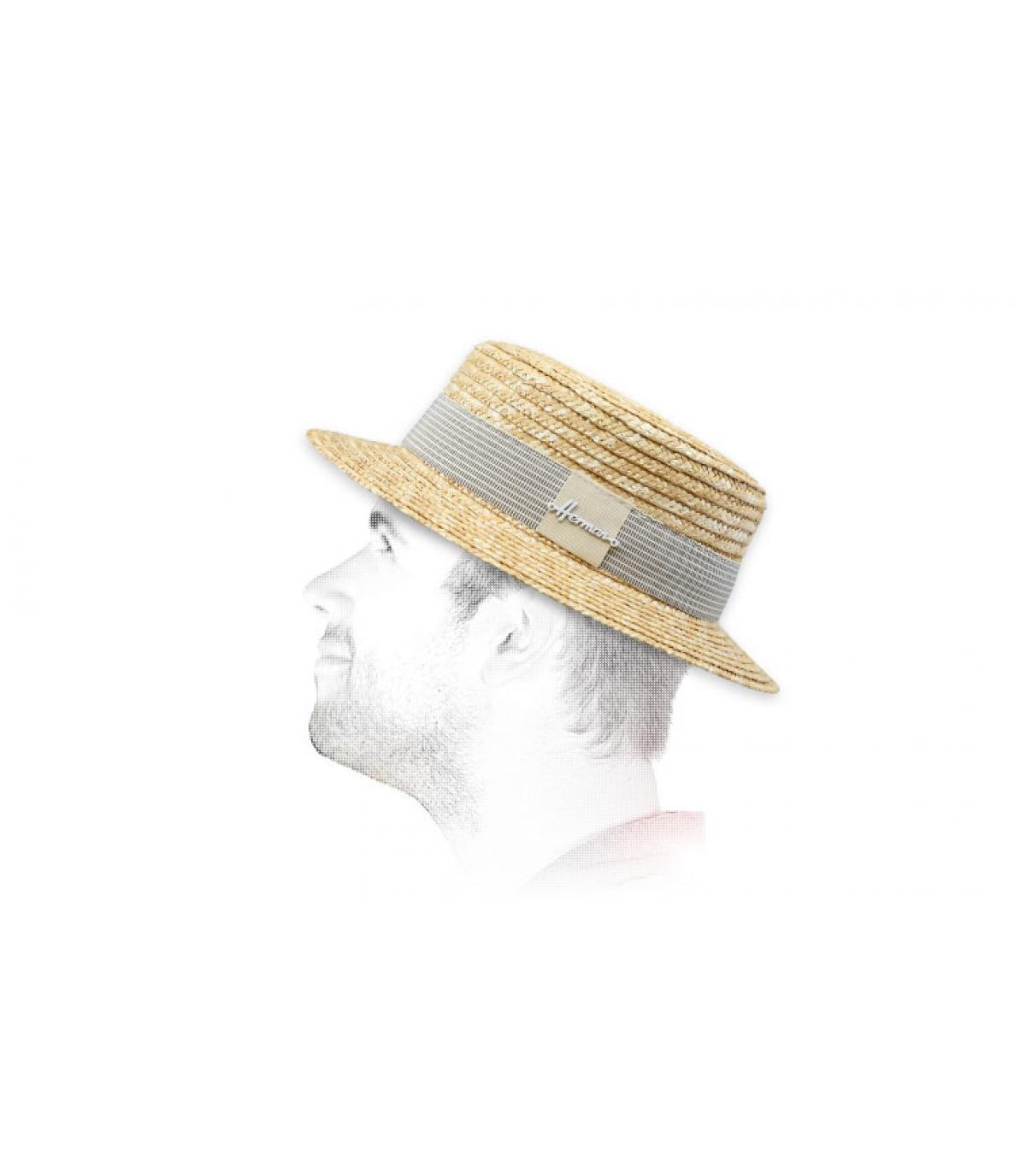 Canotier Strohhut Hutband beige