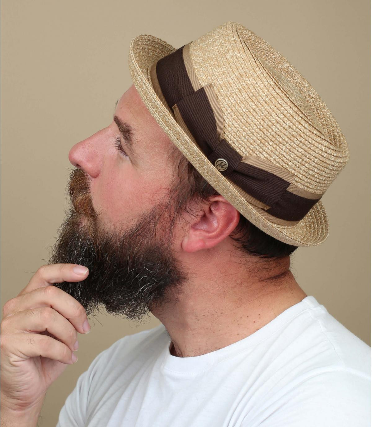 Strohhut beige Hutband