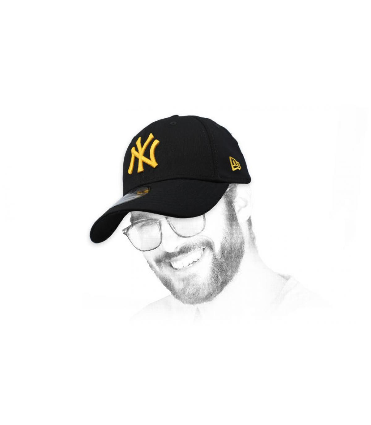 casquette NY schwarz Gold